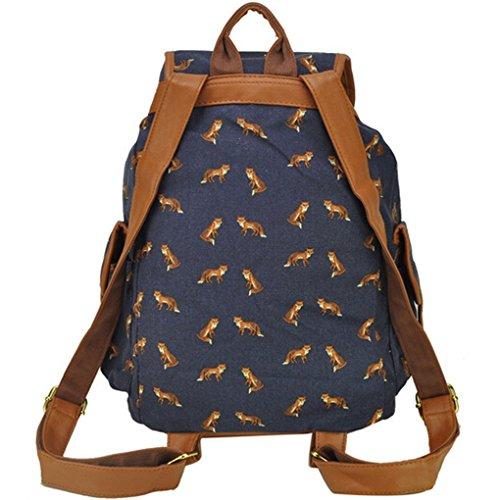 5-ALL Herren Damen Frauen Fashion Vintage Modisch Casual Vintage Canvas Haltbare Segeltuch Taschen Reisetaschen Sporttaschen Schultaschen Rucksack Wanderrucksack Multifunktionsrucksack - Pop Muster- W Light Blue