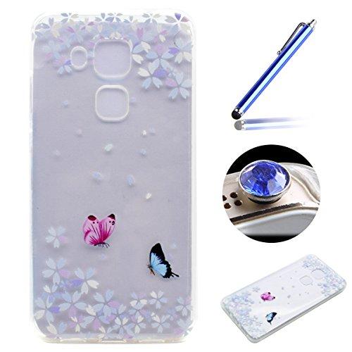 Etsue Doux Protecteur Coque pour [Huawei Nova Plus],TPU Matériau Frame est Transparent Soft Cover pour Huawei Nova Plus,Coloré Motif par Dessin de Mode Case Coque pour Huawei Nova Plus + 1 x Bleu stylet + 1 x Bling poussière plug (couleurs aléatoires) - Fleur Papillon