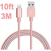 iPhone Ladekabel, JOOMFEEN 10ft/3M Mylon Extra lang 8 pin Lightning Kabel für iPhone 8/8 plus/7/7 Plus/6S/6S Plus 6/6 Plus SE 5S 5C 5, iPad Air/Air 2, iPad mini 2/3/4, iPad 4 - RoséGold