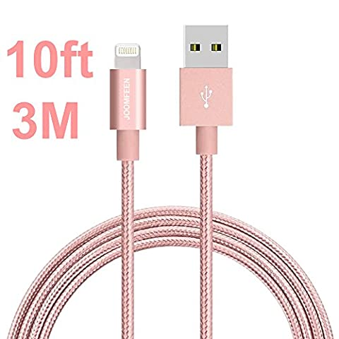 Lightning Cable, JOOMFEEN 10ft/3m Nylon Braided Extra Long 8pin Charging Cable USB Cord Charger for Apple iPhone 7/7 Plus/SE/6/6s/6 plus/6s plus,5c/5s/5,iPad Pro/Air/Mini,iPod Nano/Touch(Rose Gold)