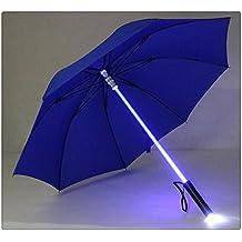 Sable de luz Paraguas 7cambia de color LED luz en el eje y construido en linterna en la parte inferior lluvia paraguas, azul