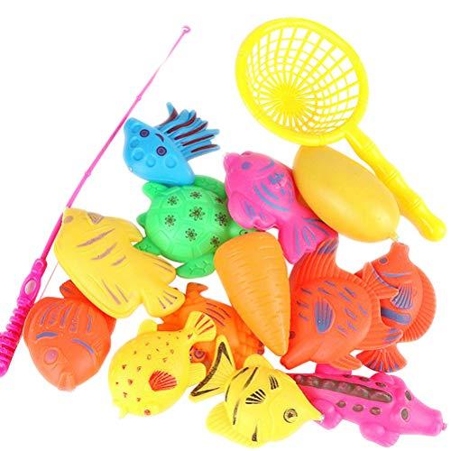 Toyvian Angel Spielzeug Magnete Angelspiel Wasserspiel Badewannenspielzeug Lernspiel Angelrute für Kinder 13 Stück (Zufällige Muster)