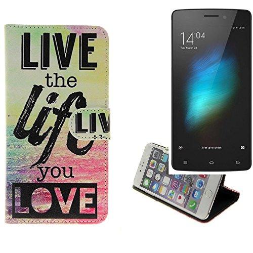 K-S-Trade® Für -Cubot X12-360° Wallet Case Schutz Hülle ''live The Life You Love'' Schutzhülle Handy Hülle Handyhülle Handy Tasche Etui Smartphone Flip Cover Flipstyle