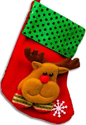 Alberi di Natale, BEFANA IN FELTRO ROSSO CON ALCE DI APPLICAZIONE, dimensione senza cinghia: 16x 9cm Christbaum fatti a mano