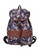 Douguyan Mode Retro Tasche Freizeitrucksack Reiserucksack Schulrucksack Daypack girls Backpack fashion Rucksack damen E00164 Blau Teerose Muster