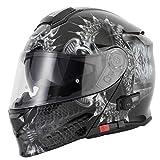 VCAN V271 Blinc Bluetooth 5 Fullface Helm Klapphelm Motorrad Helm Roller mit Doppelvisier...