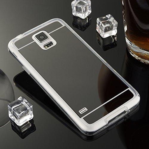 POEGO iPhone 5 / 5S / SE weiche Silikon TPU Schutzhülle Cover Case Etui Transparent Ultra Dünn mit Glänzenden Rand Rosegold Spiegelnde Rückseite Schwarz
