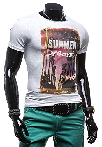 GLO STORY Herren T-shirt Figurbetont Kurzarm Men's Man Top New Fit O-Neck  ...
