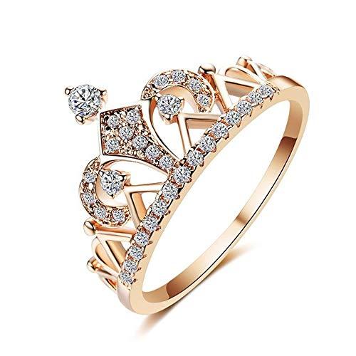 ZHOUYF RING Verlobungsringe Prinzessin Crown Ringe Für Frauen AAA Zirkonia Micro Pave Einstellung Verlobung Hochzeit Ringe Weibliche Anel Zubehör, B, 6#