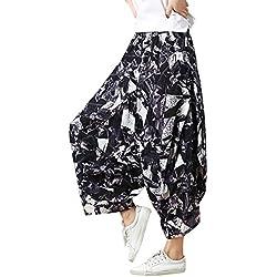 Feoya Pantalones Bombachos Étnico Casual Pantalones Anchos Loose Pants Harén para Mujeres Estampado Vintage, Negro