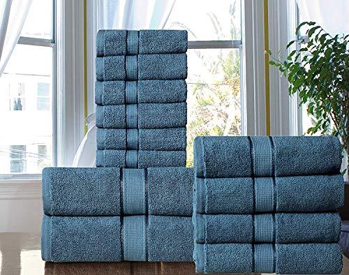 Cozy Home Collection Superior 600 g/m² Luxus Badezimmer 12-teiliges Handtuch-Set aus langstapeliger gekämmter Baumwolle, 6 Waschlappen in Hotel- und Spa-Qualität, 4 Handtücher und 2 Badetücher blau (Badezimmer 6-teilig)