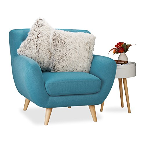 Relaxdays 10021082_686 set 2 cuscini in pelliccia sintetica, soffici guanciali decorativi da divano con federa hxlxp: 15x45x45 cm, bianco-marrone
