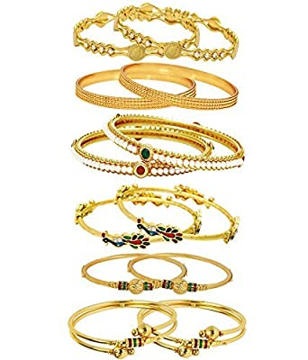 YouBella Gold Plated Bangles Combo of 6 Bangles Jewellery FprGirls/Women