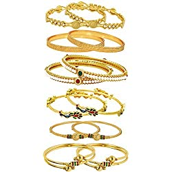 Youbella Gold Gold Plated Combo Of 6 Bangle Set For Women