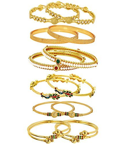 Youbella Gold Plated Combo Of 6 Bangle Set For Women (2.6)