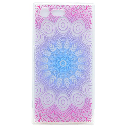 Sony Xperia X Compact Hülle,Sony Xperia X Compact Schutzhülle,Sony Xperia X Compact Silikon Hülle,ikasus® TPU Silikon Schutzhülle Case Hülle für Sony Xperia X Compact,Durchsichtig mit Bunte Kunst Gemalte Mandala Blumen Muster Handyhülle Silikon Hülle [Kristallklar Durchsichtig] Stoßdämpfend Transparent TPU Silikon Schutz Handy Hülle Case Tasche Silikon Crystal Case Durchsichtig Schutzhülle Etui Bumper für Sony Xperia X Compact - Indische Sonne Blumen