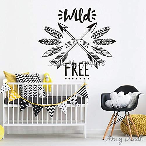Wilde und kostenlose Wandaufkleber Woodland Tribal Wall Decal inspirierende Zitat Wandaufkleber für Kinderzimmer Kinderzimmer Dekor Vinyl 57 * 64 cm