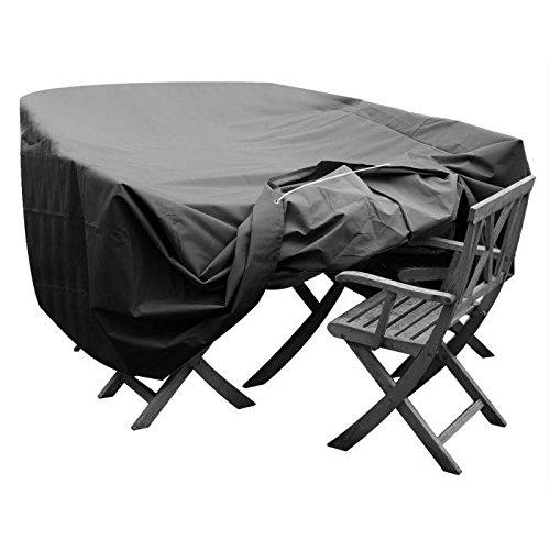 GREEN CLUB Housse de protection pour salon de jardin table + 8 a 10 chaises - 308 x138x65 cm - Anthracite