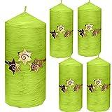 Weihnachten Kerzen Set 4 Stück Stumpenkerzen Adventskerzen 100x50 Dekokerzen Kerzen für Adventskranz Tischkerzen mit Sterne apfelgrün gold andere Farben möglich IW15