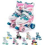 Meteor Pattini a rotelle Discoteca Skate - Roller Parallel 4 Ruote - Pattini da Pattinaggio in Quad per Bambini Adolescenti e Adulti - Taglia Regolabile (S 31-34, Eden)
