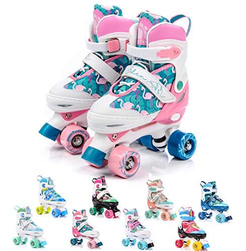 meteor® Retro Rollschuhe: Disco Roller Skate wie in den 80er Jahren, Jugend Rollschuhe, Kinder Quad Skate, 5 Verschiedene Farbvarianten, Einstellbare Größe des Schuhs (M 35-38, Eden)