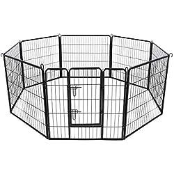 feandrea Luxe Parc Enclos pour Chiens Chiots Animaux de Compagnie 8 Panneaux Noir 80 x 80 cm PPK88H