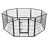 feandrea Welpenauslauf Welpenlaufstall für Hunde Kaninchen kleine Haustiere 8-Eck Schwarz 80 x 80 cm PPK88H