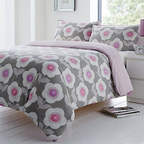 Floral Bettdecke In Voller Größe (Dreams 'n Drapes Bettwäscheset Ellon, wendbar , silber, Einzelbett)