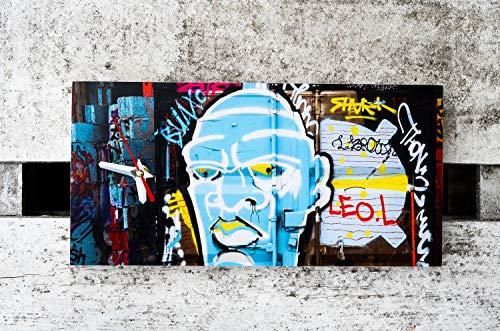 Wanduhr Zombie Uhr Pop Art Graffiti rechteckig Foto auf Holz