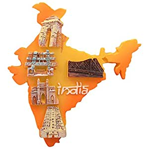Artsy India India Map Fridge Magnet (Size: 6.5 cm x 7 cm x 1 cm Colour: Multi Colour)