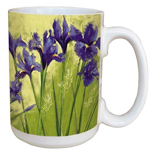 Tree Free Grußkarten 45589 15 ml, Nel Whatmore Irise Grün Keramik-Tasse mit großen Griff