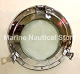 Maritime Silber 38,1cm Bullauge Runde Fenster Glas Nautisches Boot Schiff Home Decor