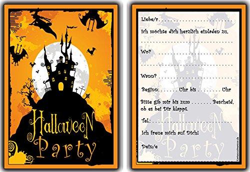 karten Kindergeburtstag Jungen Mädchen - 8 Stück Einladung HalloweenParty Party Feier Geburtstag grusel Hexe Zauberer Spukschloß ()