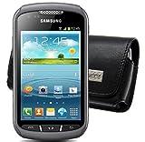 Suncase Étui de protection en cuir de vachette pour Samsung Galaxy Xcover 2 S7710 MTT format horizontal Noir - Clip