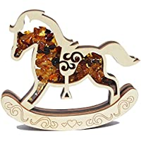 6313aa74c775d8 Fait à la main Ambre et bois décoration – Cheval à bascule, Magnifique  Charm pour