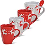 matches21 Elch Motiv Weihnachtstasse mit Löffel 1. Stk. Weihnachtsmotiv Tasse in rot / weiß Keramik B-WARE 10 cm / 350 ml ** PREISKRACHER **