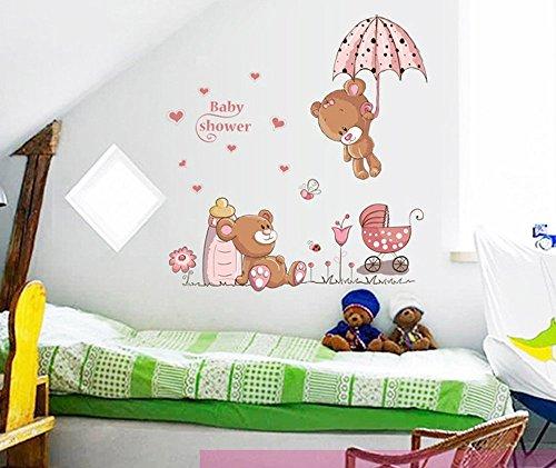 ufengke® Osos Lindos del Bebé y Flores Paraguas Pegatinas de Pared, Vivero Habitación de Los Niños Removible Etiquetas de La Pared / Murales