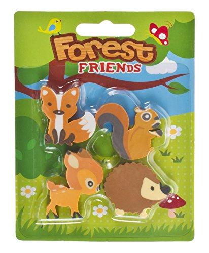 Cute Forest Friends/Woodland Tier Kinder Radierer. 4 Radierer Pro Pack. Fox, Reh, Eichhörnchen und Igel.