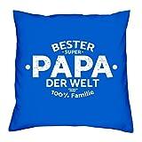 Geschenk-Set : Kissen und Urkunde :: Bester Papa der Welt Geschenkidee Vater-Tag Vatertagsgeschenk Geschenk Geburtstagsgeschenk inkl. Kissenfüllung 40x52Farbe: royal-blau