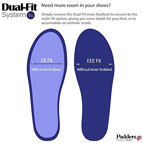 Padders Damen wasserdichte Lederstiefel 'Summit' | Dual-Passmaß-System für eine breitestmögliche Passung | Hergestellt in Grossbritannien | Extra Breit EE-EEE Passmaß | 35mm Ferse Denim Blue