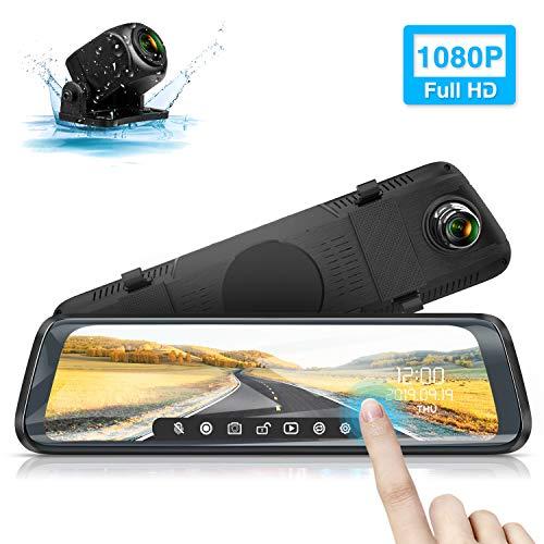 """Rückfahrkamera, WiMiUS M10 Rückspiegel Kamera 10\"""" Touchscreen Dual Autokamera vorne hinten Dashcam, 1080P FHD, 170° Weitwinkel mit Parküberwachung, Loop-Aufnahme, G-Sensor, WDR, Nachtsicht, IP65"""