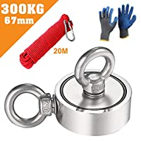 UHAPEER double sided neodymium eyelet magnet super strong magnetic fishing, strong magnet adhesive force 300KG with 20m rope and a pair of gloves, magnets Perfect for magnetic fishing magnet 60mm