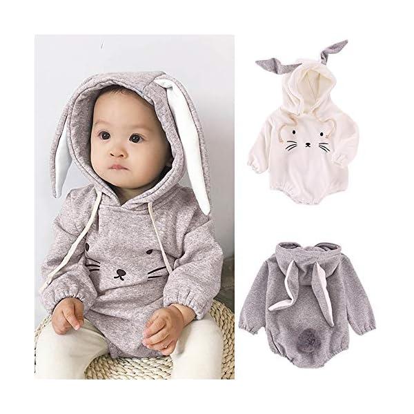 MAYOGO Mono Ropa Bebe Sudadera Manga Larga con Capucha Mameluco Conejo Bodis Ropa Animales para Bebe Niños Invierno Bebé… 2
