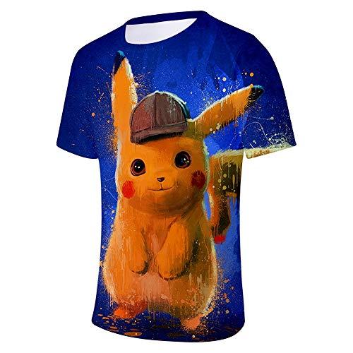 er Sommer Shirt T-Shirt Big Detective Pokemon Rundhals Halbarm Elf Poco Dream Kurzarm Cosplay,A,XXXXL ()