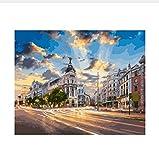 Madrid, Ciudad, Paisaje, Pintura Digital Diy Por Números, Arte De Pared Moderno, Lienzo De Pintura, Regalo Único Para La Decoración Del Hogar Pintura Digital 50X60CM