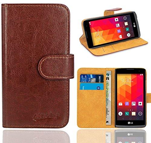 LG Leon 3G / 4G Handy Tasche, FoneExpert® Wallet Case Flip Cover Hüllen Etui Ledertasche Lederhülle Premium Schutzhülle für LG Leon 3G / 4G (Braun)