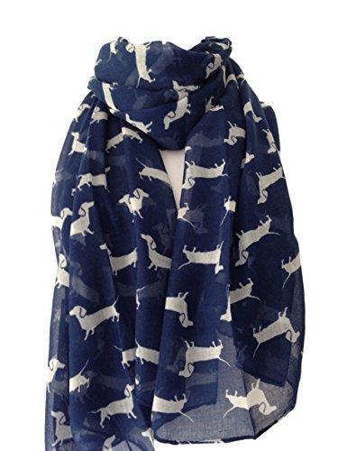 Purple Possum UK Hund Print Schal, Marineblau und Weiß Dackel Sausage Dog, Damen Blau Schal -