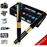 IndiaMart Electronics Hidden Camera Spy Pen Recorder Dvr Gold VGA 720x480p Best Cam Kit, No Lights Recording, up to 32gb tf Card (Not Included) 90 d. Full HD.