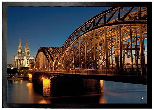1art1 94635 Köln – Hohenzollernbrücke Und Kölner Dom Bei Nacht Fußmatte Türmatte 70 x 50 cm