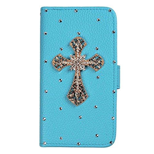 xhorizon® Auffälliger Glänzender Strass Kristall Pfau Krone DIY [Blau] Leder Tasche Geldbeutel Stand Decke Case Hülle für [4.7inch] iPhone 6 mit einer Reinigungstuch Goldes Kreuz